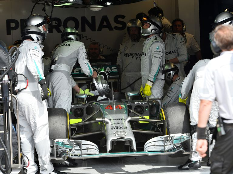 Lewis Hamilton's car is returned to the Mercedes garage