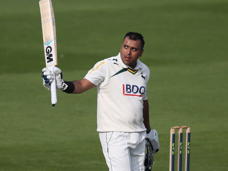 Samit Patel of Nottinghamshire acknowledges the crowd after reaching his century