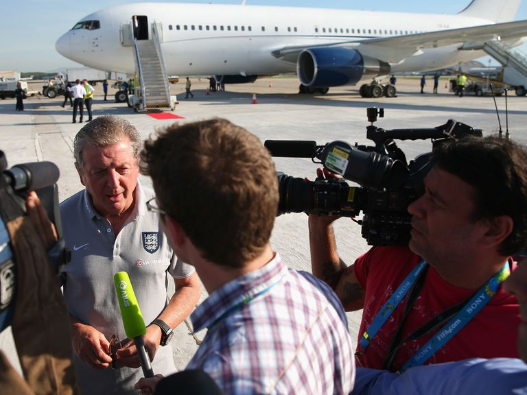 Roy Hodgson speaks to the media upon arrival in Rio