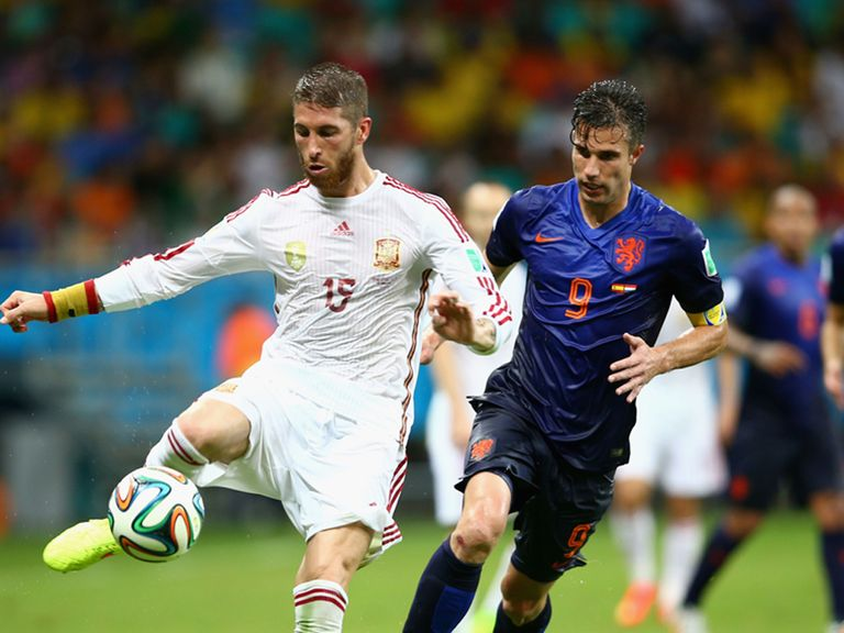 Sergio Ramos (left): Struggled to cope with Dutch forwards