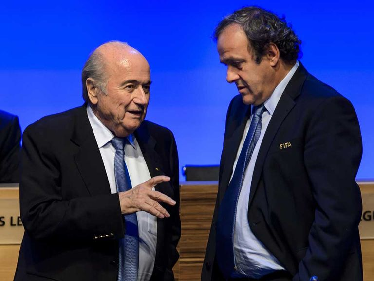 Michael Platini (right): Not willing to support Sepp Blatter