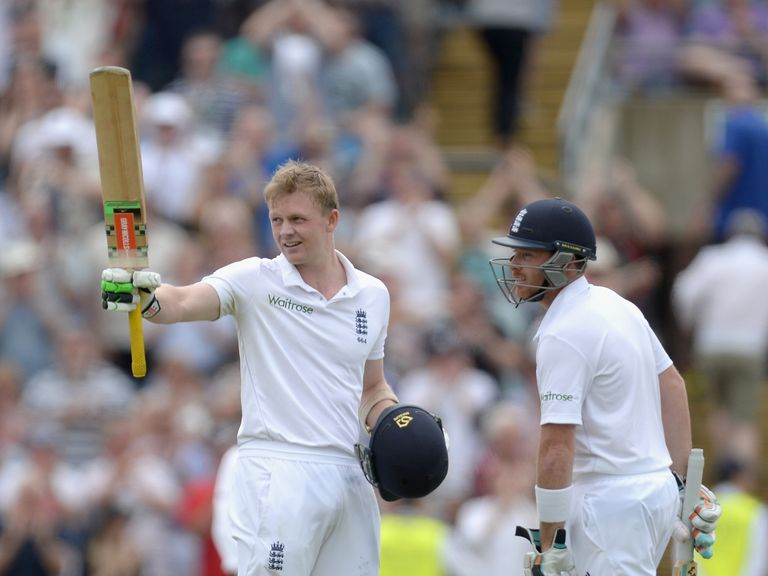 Sam Robson celebrates with Ian Bell after reaching his century