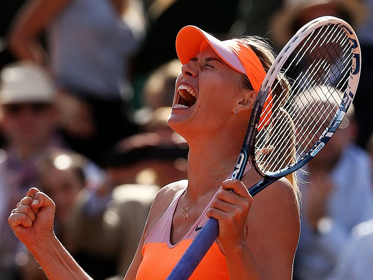 Maria Sharapova celebrates victory over Eugenie Bouchard