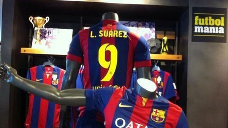 In Barcelona, one shop has already started selling Suarez shirts