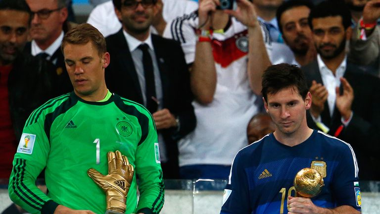 Manuel Neuer and Lionel Messi: Receive their respective awards