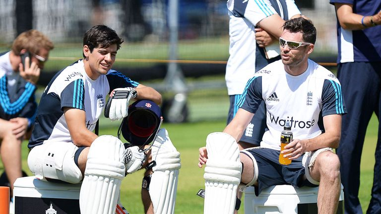 Alastair Cook and James Anderson during a nets session ahead of the second Test