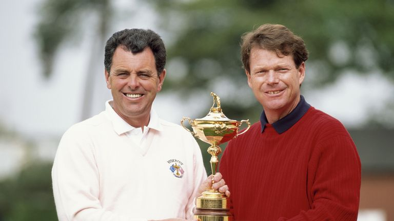 Bernard Gallacher and Tom Watson ahead of the 1993 Ryder Cup at The Belfry