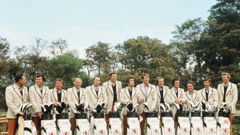 Bernard (fourth from right) with the 1973 Ryder Cup team