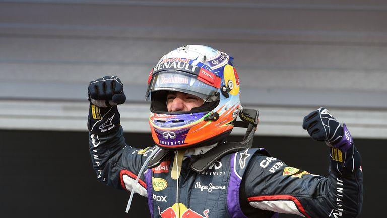Daniel Ricciardo celebrates victory