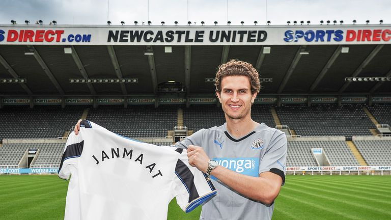 Daryl Janmaat poses for photos at his new home ground
