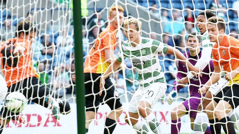 Virgil van Dijk: Celtic defender turns the ball into the KR Reykjavik net to open the scoring at Murrayfield