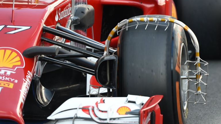 Ferrari with a particularly novel measuring device on the F14 T's front-left wheel