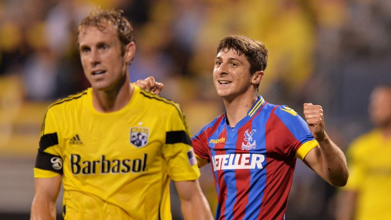 Jake Gray of Crystal Palace celebrates his goal against the Columbus Crew