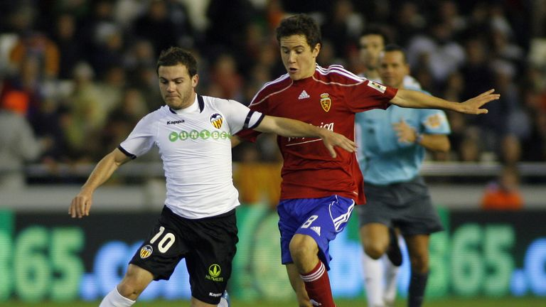 Juan Mata and Ander Herrera in action in 2009 for Valencia and Zaragoza respectively