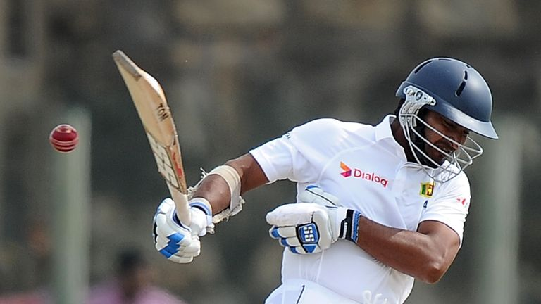 Kumar Sangakkara: Sri Lanka batsman fends off a bouncer