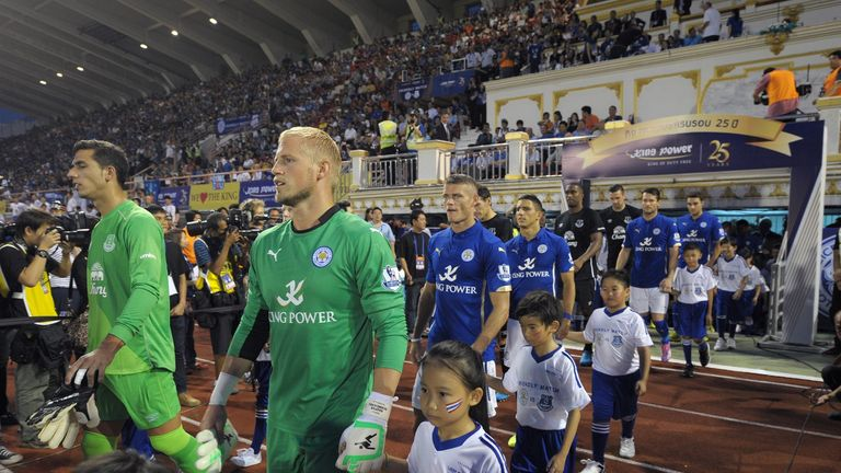 Leicester City and Everton emerge at the Suphachalasai Stadium in Bangkok