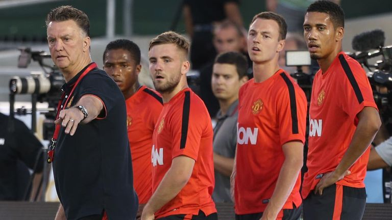 Louis van Gaal directs his players during a training session at Pasadena's Rose Bowl