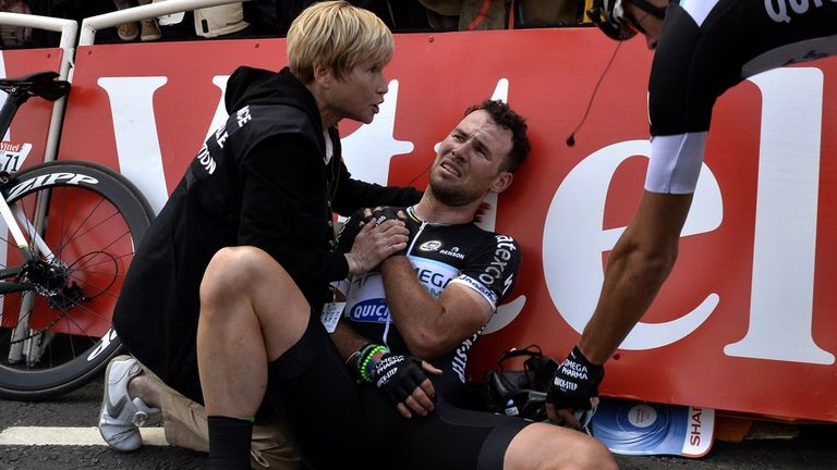 Mark Cavendish stayed on the ground for several minutes after the incident