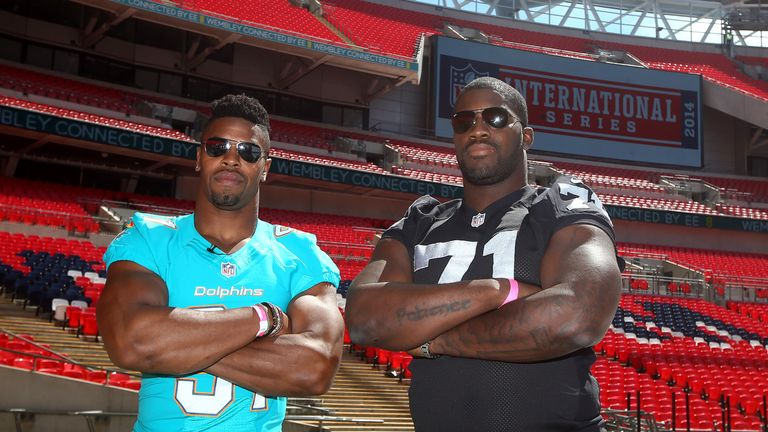 Cameron Wake of Miami Dolphins during the NFL Media Day at Wembley