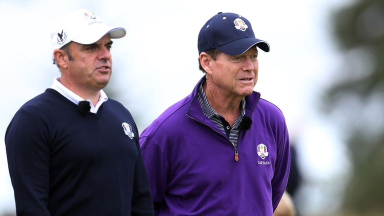Paul McGinley and Tom Watson keeping a close eye on their players