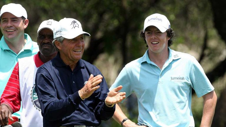 Gary Player and Rory McIlroy back in 2009