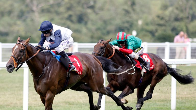 Pallasator (left) ridden by Luke Morris stakes his claim for the Ebor.