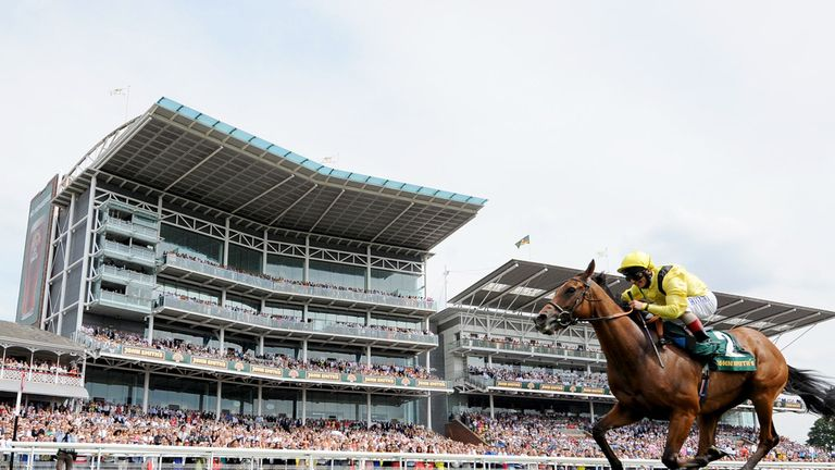 Farraaj wins the John Smith's Cup in front of packed stands at York.
