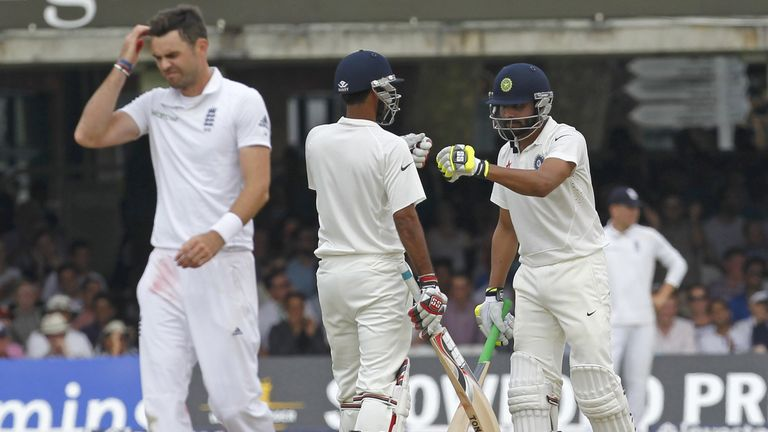 Anderson scratches his head during Jadeja and Kumar's batting exploits