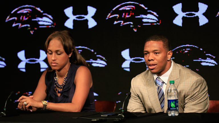Ray Rice with his wife Janay at the Ravens training centre