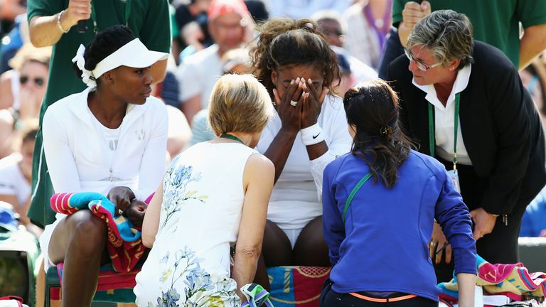 Serena Williams (C): Managed just three games before pulling out of doubles clash