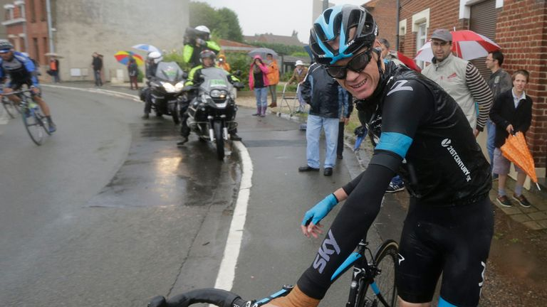 Chris Froome was forced to quit the race on stage five