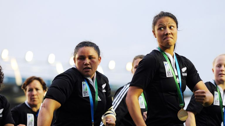 New Zealand do the haka after defeating England in the Women's Rugby World Cup 2010 Final