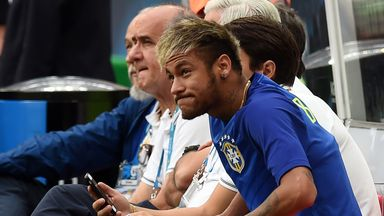 Neymar: Brazil forward looks on during the defeat by Holland