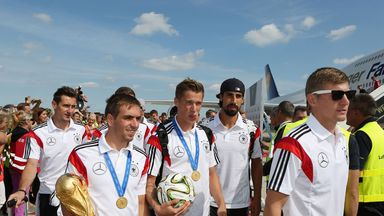 Miroslav Klose, Philipp Lahm, Lars Bender, Sami Khedira and Toni Kroos enjoying their heroic welcome
