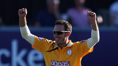 Will Smith: Claimed three wickets, including bowling Jesse Ryder for a duck