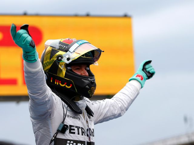 Nico Rosberg celebrates victory on home soil