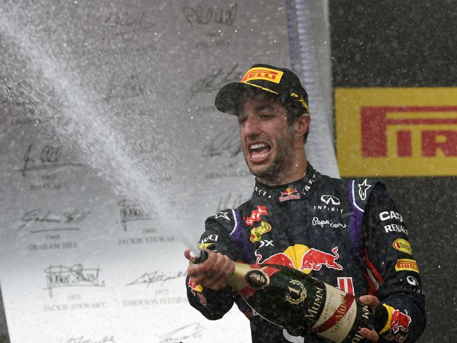 Red Bull's Daniel Ricciardo sprays the champagne in Hungary