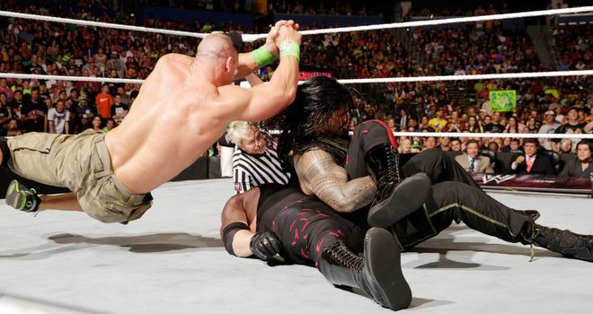 Cena breaks up Reigns' pin attempt on Kane