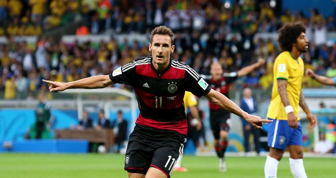 Miroslav Klose: Celebrates record-breaking 16th goal in World Cup finals