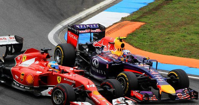 Fernando Alonso and Daniel Ricciardo went wheel-to-wheel at Hockenheim