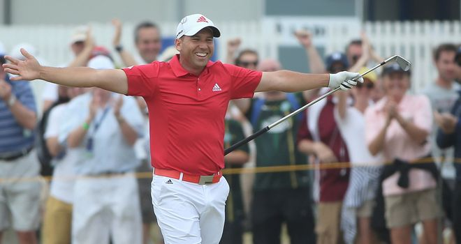 Sergio celebrates after holing his second shot for eagle