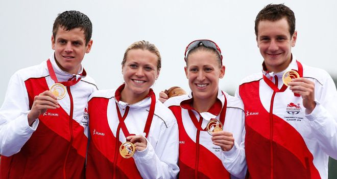 Jonathan Brownlee, Jody Simpson, Vicky Holland and Alistair Brownlee celebrate more success
