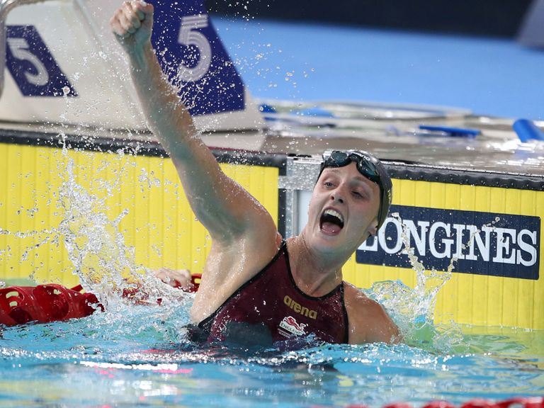 England's Francesca Halsall wins the women's 50m freestyle