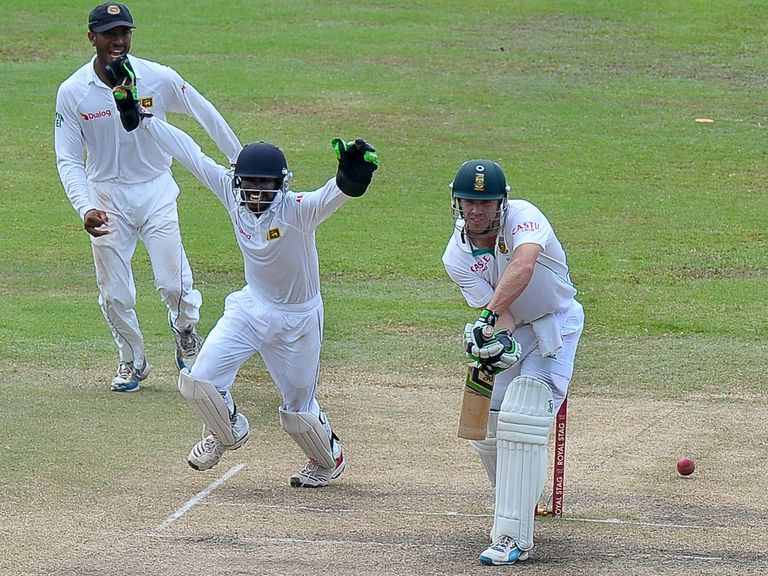 South Africa's AB de Villiers is dismissed in Colombo