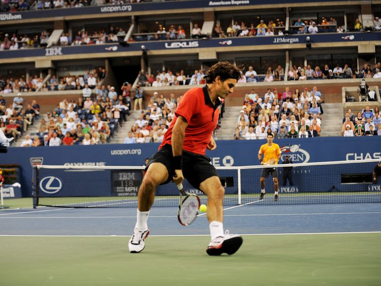 Federer hit his famous hot-dog shot against Djokovic at the 2009 US Open