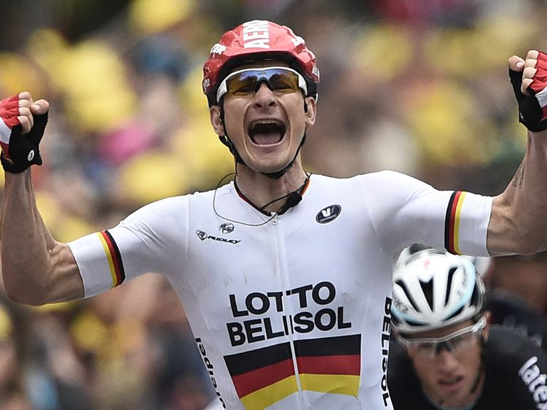 Germany's Andre Greipel celebrates his stage victory in Reims