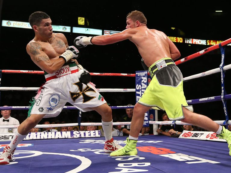 Billy Joe Saunders (right) in action against Emanuel Blandamura