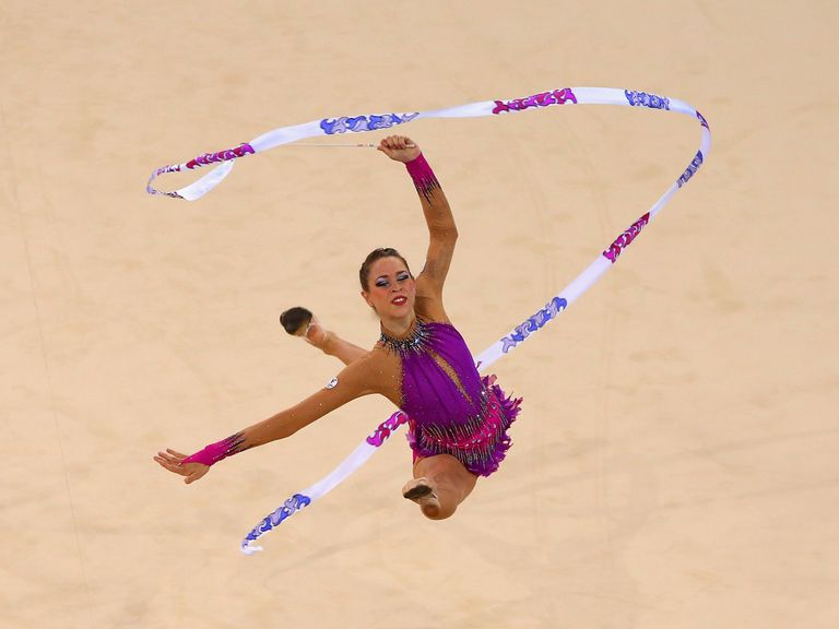 Francesca Jones competes in the Gymnastics Rhythmic Individual Ribbon Final