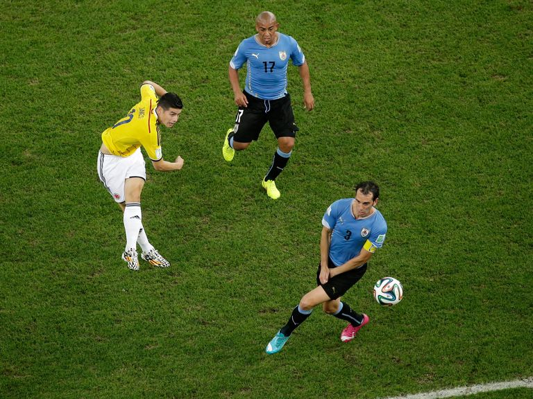 James Rodriguez: Fired a stunning volley in off the bar against Uruguay
