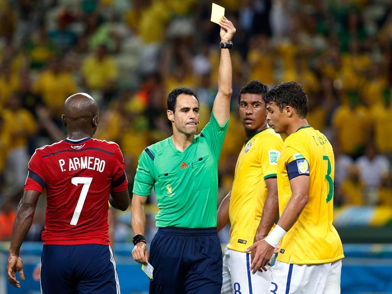 Thiago Silva picks up his yellow card against Colombia